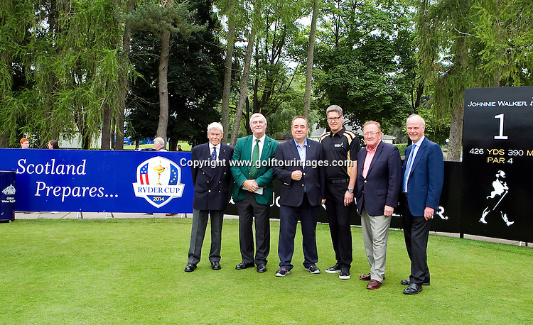 from left  - Lord MacFarlane, Honorary Life President, Diageo, Ivor Robson, Honorary Starter European Tour, Scotland's First Minster, The Rt Hon Alex Salmond MSP, David Cutter, Supply Director, Diageo International Supply, Richard Hills Ryder Cup Director and Sandy Jones, Chief Executive of Professional Golfers Association on the first tee during round 2 of the 2013 Johnnie Walker Championship being played over the PGA Centenary Course, Gleneagles, Perthshire from 22nd to 25th August 2013: Picture Stuart Adams www.golftourimages.com: 23rd August 2013