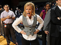 Feb. 7, 2011; Charlottesville, VA, USA; Florida State Seminoles head coach Sue Semrau gets excited before the start of the game against the Virginia Cavaliers at the John Paul Jones Arena.  Mandatory Credit: Andrew Shurtleff-US PRESSWIRE