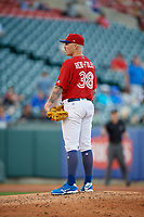 Buffalo Bisons starting pitcher Sean Reid-Foley (38) looks in for the sign during a game against the Syracuse Chiefs on July 6, 2018 at Coca-Cola Field in Buffalo, New York.  Buffalo defeated Syracuse 6-4.  (Mike Janes/Four Seam Images)