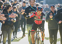 Greg Van Avermaet (BEL/BMC) greeting the fans at the (new) race start in Antwerpen<br /> <br /> 101th Ronde Van Vlaanderen 2017 (1.UWT)<br /> 1day race: Antwerp &rsaquo; Oudenaarde - BEL (260km)