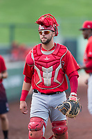 AZL Angels catcher Brett Bond (10) before an Arizona League game against the AZL Diamondbacks at Tempe Diablo Stadium on July 16, 2018 in Tempe, Arizona. The AZL Diamondbacks defeated the AZL Angels by a score of 4-3. (Zachary Lucy/Four Seam Images)
