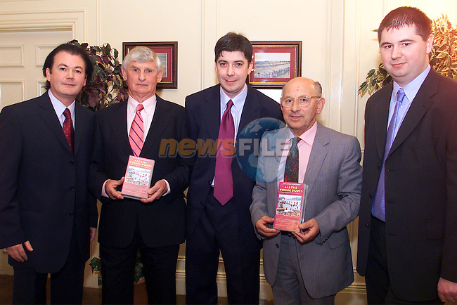 """Johnny McEvoy, producer-director, Mick Megan, former manager Drogheda United, Micheal McEvoy, producer-director, Arthur Brady, former manager Drogheda United and Philip Byrne digital editor pictured at the launch of Drogheda United's """"All the Young Dudes"""" video at the Westcourt hotel..Picture:Arthur Carron"""