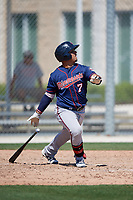 Minnesota Twins Kerby Camacho (7) during a Minor League Spring Training game against the Tampa Bay Rays on March 15, 2018 at CenturyLink Sports Complex in Fort Myers, Florida.  (Mike Janes/Four Seam Images)