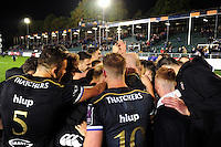 Bath Rugby players celebrate the win after the match. European Rugby Challenge Cup match, between Bath Rugby and Bristol Rugby on October 20, 2016 at the Recreation Ground in Bath, England. Photo by: Patrick Khachfe / Onside Images