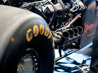 Jul 28, 2019; Sonoma, CA, USA; Detailed view of the engine in the dragster of NHRA top fuel driver Mike Salinas during the Sonoma Nationals at Sonoma Raceway. Mandatory Credit: Mark J. Rebilas-USA TODAY Sports