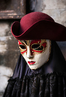 A volto mask popular at the Carnival of Venice festival, Venice, Italy
