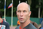 05 September 2008: U.S. head coach Bob Bradley talks to the media after practice. The United States Men's National Team held a training session at Estadio Nacional de Futbol Pedro Marrero in Havana, Cuba in preparation for their 2010 FIFA World Cup Qualifier against Cuba the next day.