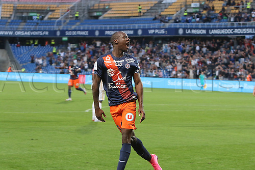 24.09.2015. Montpelier, France. French League 1 football. Montpellier versus AS Monaco. Goal celebrations from bryan dabo mhsc