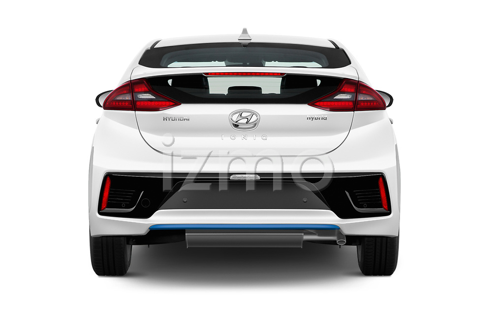 Straight rear view of 2017 Hyundai Ioniq-Hybrid Executive 5 Door Hatchback Rear View  stock images
