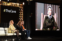 """PASADENA, CA - JANUARY 17: (L-R) Producers Sigrid Dyekjaer, Kirstine Barfod, Sound Designer Peter Albrechtsen, and Film subject Dr. Amani Ballour (via Skype) attend the panel for """"The Cave,"""" Storytelling With Courage during the National Geographic presentation at the 2020 TCA Winter Press Tour at the Langham Huntington on January 17, 2020 in Pasadena, California. (Photo by Frank Micelotta/National Geographic/PictureGroup)"""