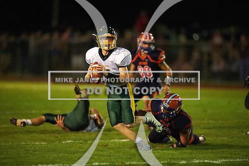 Alexander Trojans vs Attica Blue Devils Genesee Region League Football at Attica High School on September 9, 2016 in Attica, New York.  (Copyright Mike Janes Photography)