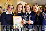 Jennifer Nolan, Ellie Stewart, Roisin O'Connell and Sarah Tansley, pictured at Presentation Secondary School, Tralee, on Frida morning last, as they won the senior BioDiversity award in their category 'Out with Japanese Knotweed' .