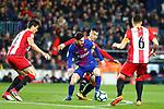 League Santander 2017/2018. Game: 25.<br /> FC Barcelona vs Girona FC: 6-1.<br /> Borja Garcia vs Lionel Messi.