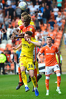 Fleetwood Town's Ashley Eastham and James Husband compete with Blackpool's Armand Gnanduillet<br /> <br /> Photographer Richard Martin-Roberts/CameraSport<br /> <br /> The EFL Sky Bet League One - Blackpool v Fleetwood Town - Monday 22nd April 2019 - Bloomfield Road - Blackpool<br /> <br /> World Copyright © 2019 CameraSport. All rights reserved. 43 Linden Ave. Countesthorpe. Leicester. England. LE8 5PG - Tel: +44 (0) 116 277 4147 - admin@camerasport.com - www.camerasport.com