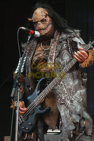 "LORDI.Perfroms as part of the ""Ozzfest 2007 Tour""  held at the Post Gazette Pavillion, Pittsburgh, Pennsylvania, USA..August 24th, 2007.half length stage concert live gig performance music dress up costume scary monster singing 3/4 guitar.CAP/ADM/JN.©Jason L Nelson/AdMedia/Capital Pictures."
