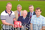 PRESENTATION:Mick Galwey presents a defibrillator to Castleisland Rugby Club at their field on Thursday evening