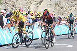 Egan Bernal (COL) Team Ineos, Yellow Jersey Julian Alaphilippe (FRA) Deceuninck-Quick Step and Steven Kruijswijk (NED) Jumbo-Visma cant match Pinot's pace with 200m to go atop the Col du Tourmalet near the end of Stage 14 of the 2019 Tour de France running 117.5km from Tarbes to Tourmalet Bareges, France. 20th July 2019.<br /> Picture: Colin Flockton | Cyclefile<br /> All photos usage must carry mandatory copyright credit (© Cyclefile | Colin Flockton)