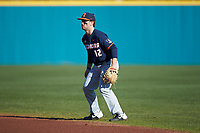 Illinois Fighting Illini second baseman Brody Harding (12) on defense against the Coastal Carolina Chanticleers at Springs Brooks Stadium on February 22, 2020 in Conway, South Carolina. The Fighting Illini defeated the Chanticleers 5-2. (Brian Westerholt/Four Seam Images)