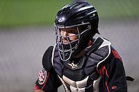 Batavia Muckdogs catcher Rodrigo Vigil (27) in the bullpen during a game against the Auburn Doubledays on August 27, 2014 at Dwyer Stadium in Batavia, New York.  Auburn defeated Batavia 6-4.  (Mike Janes/Four Seam Images)