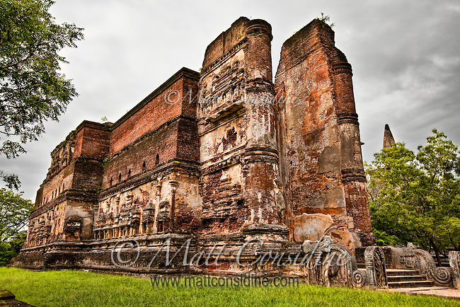 This massive cathedral-like structure was built by a Sri Lankan king almost a thousand years ago. It is unusually large for a Buddhist shrine.<br /> (Photo by Matt Considine - Images of Asia Collection)