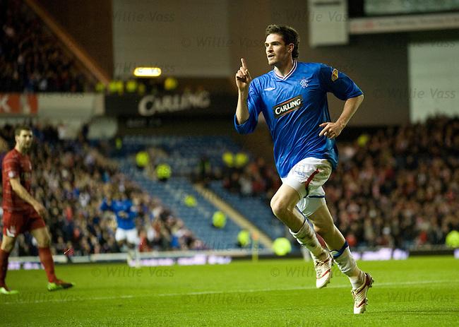 Kyle Lafferty celebrates his goal for Rangers