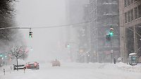 Traffic, or lack of, on Eighth Avenue in Chelsea in New York during Winter Storm Jonas on Saturday, January 23, 2016.  (© Richard B. Levine)