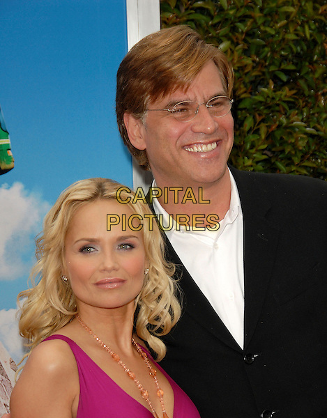 """KRISTIN CHENOWETH & GUEST.At Columbia Pictures' L.A. Film Premiere of """"RV"""" held at The Mann Village Theatre in Westwood , California, .USA, April 23rd 2006..Portrait headshot fuchsia pink dress gold beads necklace.Ref: DVS.www.capitalpictures.com.sales@capitalpictures.com.©Debbie VanStory/Capital Pictures"""