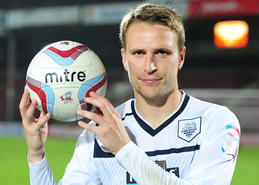 Preston North End's Nicky Wroe poses for photographs with the match ball at the end of the game.  Wroe scored a first half hat-trick in his sides 2-3 win at Scunthorpe United...Football - npower Football League Division One - Scunthorpe United v Preston North End - Tuesday 23rd October 2012 - Glanford Park - Scunthorpe..