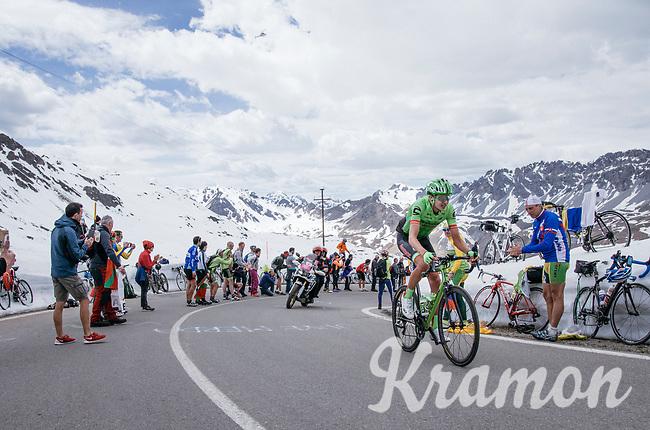 Joe Dombrowski  (USA/Cannondale-Drapac) up the Passo dello Stelvio (alt: 2758m)<br /> <br /> Stage 16: Rovett &rsaquo; Bormio (222km)<br /> 100th Giro d'Italia 2017