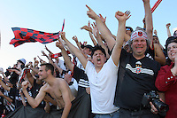 D.C. United fans celebrates after defeating the Kansas City Wizards 3-2 at the MLS Cup, at the Home Depot Center, in Carson, Calif., Sunday, Oct. 14, 2004.