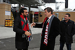 08 December 2016: Toronto mayor John Tory (right) meets Canadian soccer legend Dwayne De Rosario (left) before the press conference. Major League Soccer's Philip F. Anschutz Trophy made an appearance with Toronto's mayor at a press conference outside of BMO Field in Toronto, Ontario in Canada two days before MLS Cup 2016.