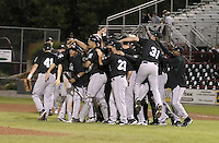 September 11, 2004:  Members of the Altoona Curve, Double-A affiliate of the Pittsburgh Pirates, celebrate a playoff victory during a game at Jerry Uht Park in Erie, PA.  Photo by:  Mike Janes/Four Seam Images