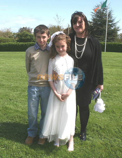 Darragh Haigh, Gemma Cummins and Jeanette Gallagher at the Donacarney First Holy Communion...Photo NEWSFILE/Jenny Matthews.(Photo credit should read Jenny Matthews/NEWSFILE)....This Picture has been sent you under the condtions enclosed by:.Newsfile Ltd..The Studio,.Millmount Abbey,.Drogheda,.Co Meath..Ireland..Tel: +353(0)41-9871240.Fax: +353(0)41-9871260.GSM: +353(0)86-2500958.email: pictures@newsfile.ie.www.newsfile.ie.FTP: 193.120.102.198.