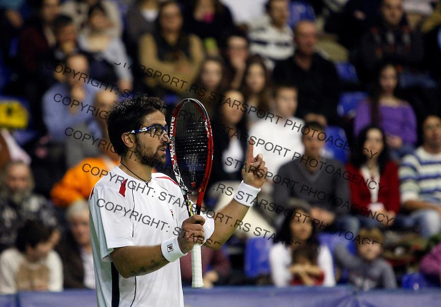 Tennis.Gemax Open 2010.Janko Tipsarevic Vs. Karol Beck (SVK).Janko Tipsarevic returnes.Belgrade, 20.02.2010..foto: Srdjan Stevanovic©
