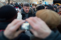 Opposition leader and former deputy prime minister speaks with protesters in Lubyanka Square during an unsanctioned anti-Putin demonstration in Moscow, Russia.  Police arrested a number of protesters and opposition leaders.