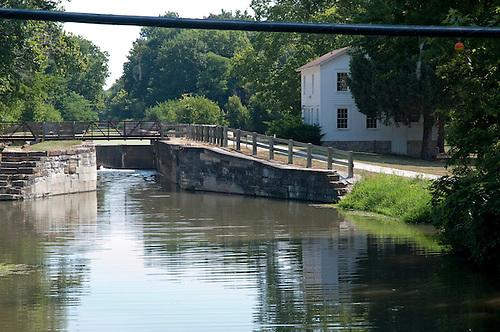 Aux Sable Aquaduct, Lock #8 , Lockhouse and foot bridge