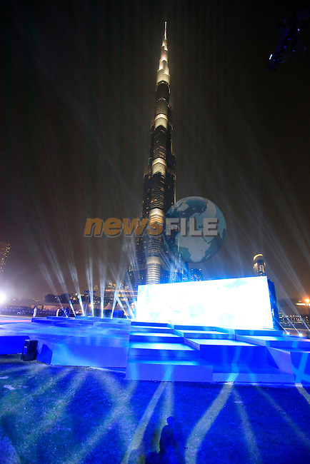 Light show during the opening ceremony of the inaugural Dubai Tour 2014 held in Emaar Burj Park at the foot of the Burj Khalifa Tower, Dubai. 4th February 2014.<br /> Picture: Eoin Clarke www.newsfile.ie