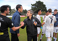 Auckland coach Ramon Tribulietx thanks Tom Jackson after the Oceania Football Championship final (second leg) football match between Team Wellington and Auckland City FC at David Farrington Park in Wellington, New Zealand on Sunday, 7 May 2017. Photo: Dave Lintott / lintottphoto.co.nz