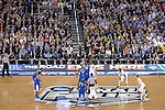 07 APR 2014: Phillip Nolan (0) of the University of Connecticut tips off against Julius Randle (30) of the University of Kentucky during the 2014 NCAA Men's DI Basketball Final Four Championship at AT&T Stadium in Arlington, TX.  Connecticut defeated Kentucky 60-54 to win the national title. Brett Wilhelm/NCAA Photos