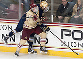 Patrick Brown (BC - 23), Shayne Taker (ND - 3) - The Boston College Eagles defeated the visiting University of Notre Dame Fighting Irish 4-2 to tie their Hockey East quarterfinal matchup at one game each on Saturday, March 15, 2014, at Kelley Rink in Conte Forum in Chestnut Hill, Massachusetts.