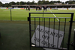 Visiting team players on the pitch at Borough Briggs, home to Elgin City, on the day they played SPFL2 newcomers Edinburgh City. Elgin City were a former Highland League club who were elected to the Scottish League in 2000, whereas Edinburgh City became the first club to gain promotion to the League by winning the Lowland League title and subsequent play-off matches in 2015-16. This match, Edinburgh City's first away Scottish League match since 1949, ended in a 3-0 defeat, watched by a crowd of 610.