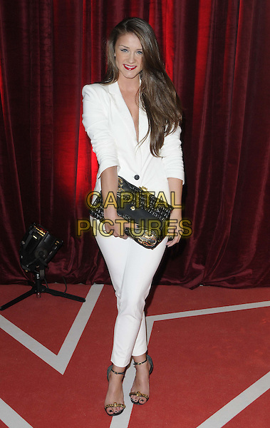 Brooke Vincent.attended the British Soap Awards 2013, Media City, Salford, Manchester, England, UK, 18th May 2013..arrivals full length  white jacket trousers suit black clutch bag ankle strap sandals .CAP/CAN.©Can Nguyen/Capital Pictures.