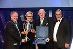 Anne Fitzpatrick, Leixlip Musical Society, who were judges Overall Winners in the Gilbert Section for their production of 'Legally Blonde' pictured receiving the trophy from on left, Colm Moules, President, AIMS and Seamus Power, Vice-President at the Association of Irish Musical Societies annual awards in the INEC, KIllarney at the weekend. Also in photo is AIMS adjudicator Peter Kennedy.<br /> Photo: Don MacMonagle -macmonagle.com<br /> <br /> <br /> <br /> repro free photo from AIMS<br /> Further Information:<br /> Kate Furlong AIMS PRO kate.furlong84@gmail.com
