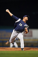 Pensacola Blue Wahoos pitcher Kyle McMyne (28) delivers a pitch during a game against the Mississippi Braves on May 28, 2015 at Trustmark Park in Pearl, Mississippi.  Mississippi  defeated Pensacola 4-2.  (Mike Janes/Four Seam Images)
