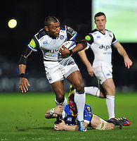 Semesa Rokoduguni of Bath Rugby takes on the Leinster defence. European Rugby Champions Cup match, between Leinster Rugby and Bath Rugby on January 16, 2016 at the RDS Arena in Dublin, Republic of Ireland. Photo by: Patrick Khachfe / Onside Images