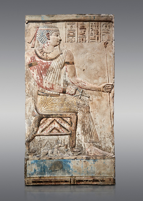 Ancient Egyptian stele of Piamon who drowned in the Nile and was deified like Osiris, Ptlomemaic Period (332-30 BC),  Egyptian Museum, Turin. Grey background, Old Fund cat 1556.