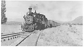 RGS 4-6-0 #20 with a longish freight train at Mancos.<br /> RGS  Mancos, CO  Taken by Kemmel, - 7/20/1942
