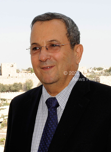 Minister of Defense and Deputy Prime Minister Ehud Barak of Israel meets with United States Secretary of State Hillary Rodham Clinton (not pictured) at the David Citadel Hotel in Jerusalem, Israel, on Wednesday, September 15, 2010. .Credit: Department of State via CNP.