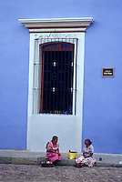 Indigenous women chatting on the street in Oaxaca