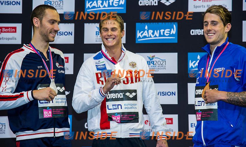 STRAVIUS Jeremy FRA  Silver Medal (L)<br /> MOROZOV Vladimir V RUS Gold Medal<br /> WALKER-HEBBORN Christoph GBR Bronze Medal<br /> 50m Backstroke Men Final<br /> 32nd LEN European Championships <br /> Berlin, Germany 2014  Aug.13 th - Aug. 24 th<br /> Day09 - Aug. 21<br /> Photo G. Scala/Deepbluemedia/Inside